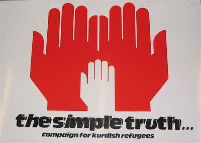 Large cardboard placard used at 'The Simple Truth' concert held in aid of Kurdish refugees, 1991.