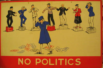 One of a set of Junior Red Cross posters: No Politics