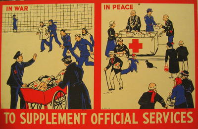 One of a set of Junior Red Cross posters: To Supplement Official Services.