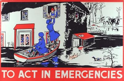 One of a set of Junior Red Cross posters: To Act in Emergencies