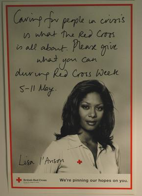 Red Cross Week fundraising poster featuring Lisa L'Anson, 1995