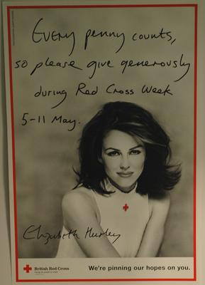 Red Cross Week poster featuring Elizabeth Hurley, 1995