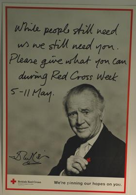 Red Cross Week poster featuring Sir John Mills, 1995