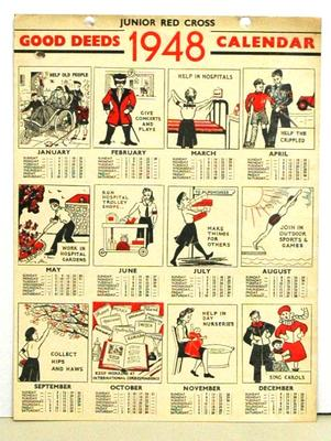 Junior Red Cross Good Deeds 1948 Calendar