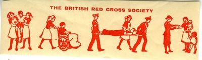 Adhesive label featuring illustrations demonstrating the first aid and welfare work of the British Red Cross.