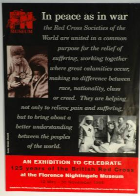 poster advertising 'In peace as in war' exhibition at the Florence Nightingale Museum, London.