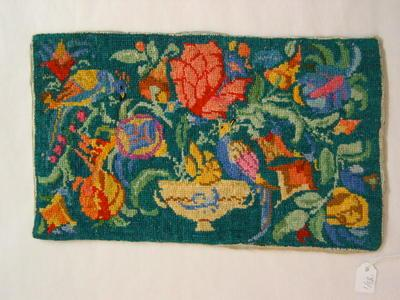tapestry, using embroidery silks, of exotic birds and flowers