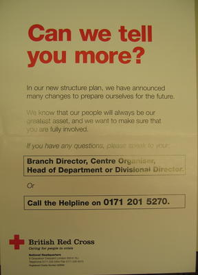 poster Can we tell you more? advertising channels for staff enquiries about the new structure, October/November 1996.