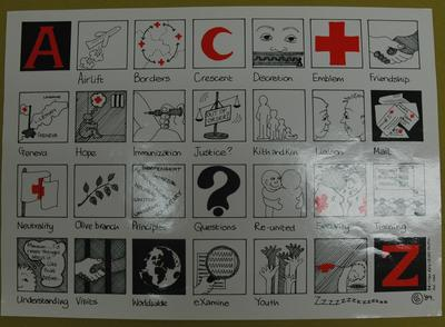 poster depicting the work of the Red Cross and Red Crescent Movement in an alphabet form