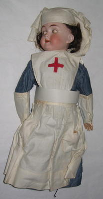 Max Handwerck bisque doll, in VAD uniform with chatelaine
