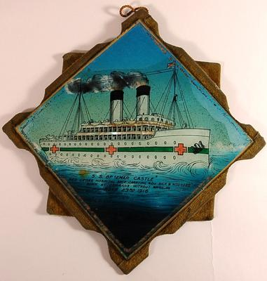 Painted glass tile of S.S.Braemar Castle, a Red Cross Hospital Ship, sunk by a mine whilst carrying 400 sick and wounded, 23rd November 1916.