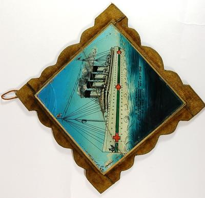 Commemorative painted glass tile depicting the S.S. Britannic
