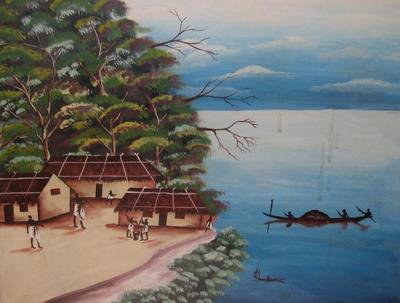 Painting of Nigerian coastal scene