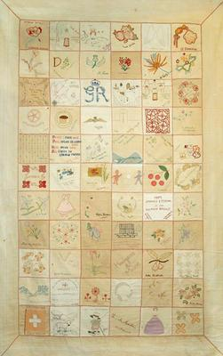 Changi quilt made up of 66 individually embroidered squares by women internees of Changi prison, Singapore.; Textiles/quilt; 1800/1