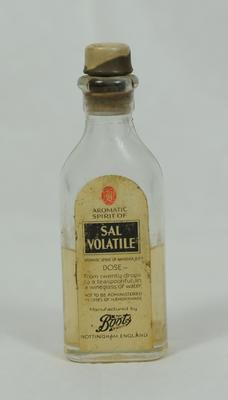 Small glass bottle containing Sal Volatile, manufactured by Boots.