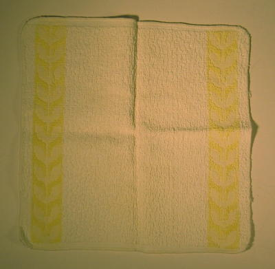 Cream wash flannel with yellow flower decoration