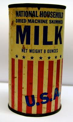 Tin of 'National Household dried machine skimmed milk. Specially packed for British Ministry of Food from the USA'.