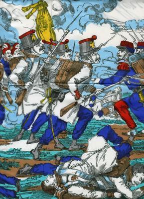 Headscarf depicting the Battle of Solferino in colour: 'Bataille de Solferino 24 Juin 1859'. Made by Swiss designer Fisba Stoffels.