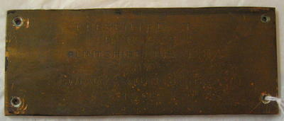 Small engraved plaque B.R.C.S. Flintshire Branch 1968