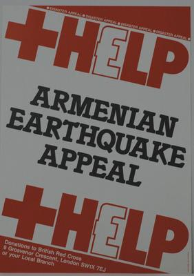 poster advertising the Armenia Earthquake Appeal
