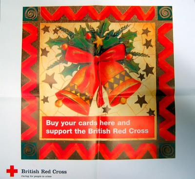 Large colour poster displayed in British Red Cross shops: 'Buy your cards here and support the British Red Cross'.