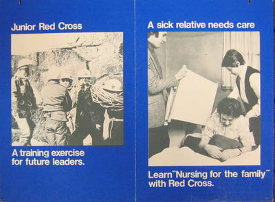 Cardboard poster promoting the work of the Junior Red Cross and nursing courses for the family
