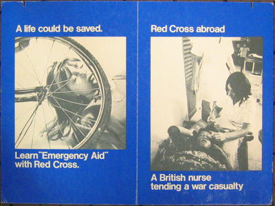 Cardboard poster promoting first aid training and the work of the British Red Cross overseas
