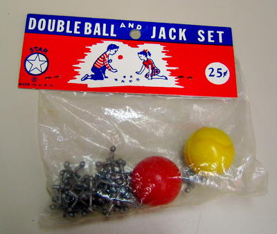 Double ball and jack set in plastic bag. Originally cost 25c.