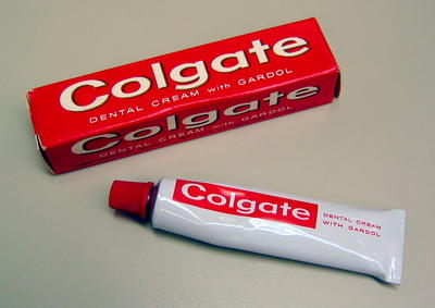 Small tube of Colgate toothpaste in cardboard box. Original cost 15c.