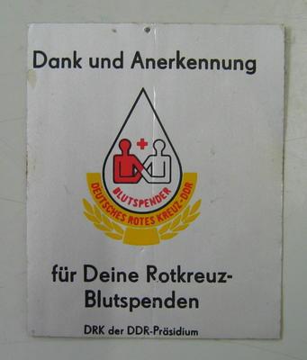 Sticker: dank und Anerkennung fur Deine Rotkreuz-Blutspenden. DRK der DDR-Prasidium.