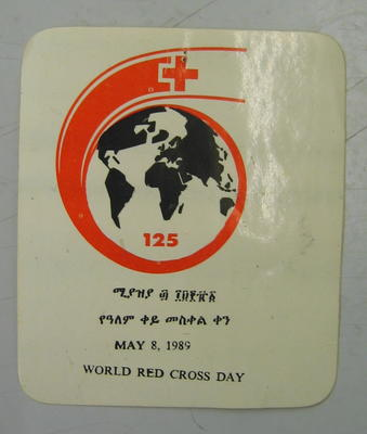 Sticker: May 8, 1989 World Red Cross Day.