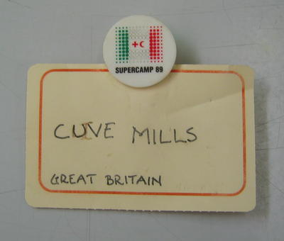 Paper and plastic name badge: Clive Mills Great Britain.
