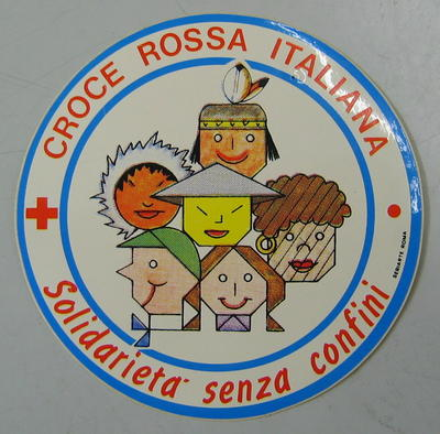 Sticker: croce rossa italiana, solidarieta senza confini
