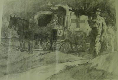 lithograph: horse-drawn ambulance by Liet. W H Dyson.