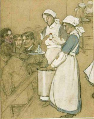 two drawings by Joyce Dennys showing scenes from a hospital ward