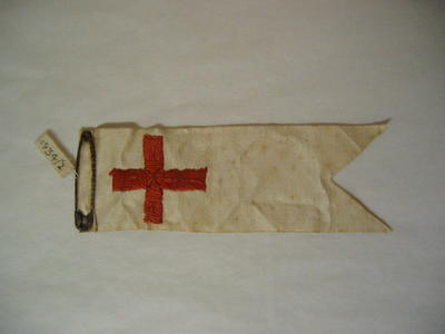 embroidered red cross on silk