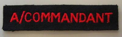 Cloth insignia: A/Commandant