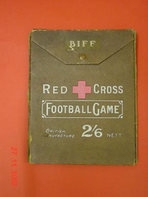 Red Cross Biff Football game, with short printed instructions, board and red and white cardboard counters.; Biff; Toys and Games/game; 923/26/1