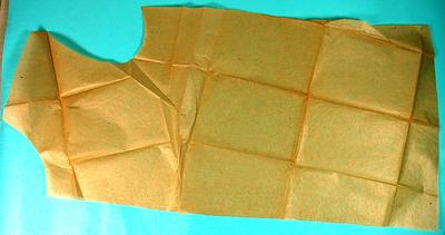 Brown paper pattern for jacket of British Red Cross Flannel or Viyella pyjama suit