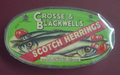 Tin of Crosse and Blackwell's Scotch Herrings in tomato sauce