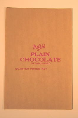Label from a bar of Meltis Plain Chocolate Vitamised