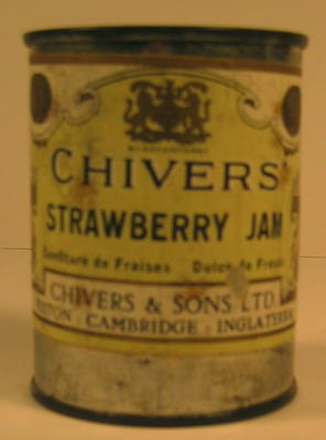 Tin of Chivers Strawberry Jam