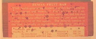 Dummy foodstuff: 'Bemax Fruit Bar'