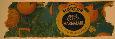 Label from a tin of Morton Finest Orange Marmalade