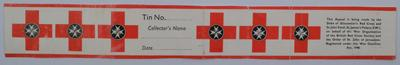 label for a collecting tin for the Duke of Gloucester's Red Cross and St John Fund