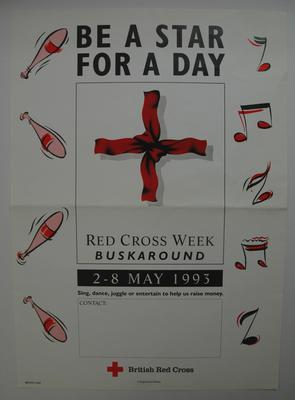 poster: 'Be a Star For A Day/Red Cross Week Buskaround/2-8 May 1993'; Printed Docs (museum)/poster; 2012/9