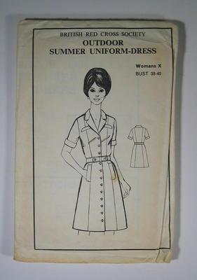 Dress pattern for British Red Cross Women's summer uniform-dress, for bust 38-40.