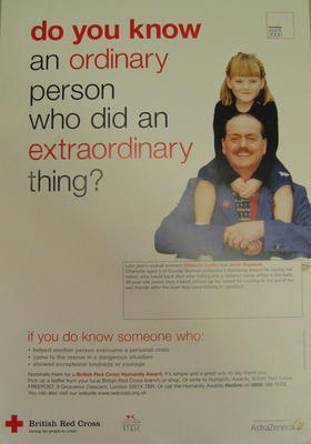 Medium sized poster advertising the British Red Cross Humanity Award.