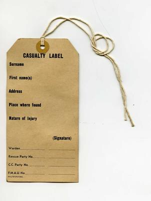 casualty label; Medical Equipment/label; 2089/1