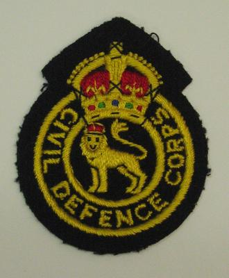 Civil Defence Corps cloth badge